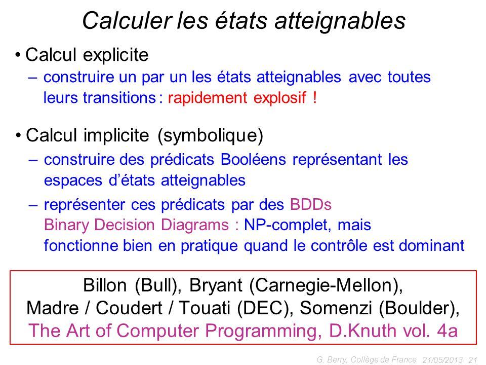 Calcul explicite – construire un par un les états atteignables avec toutes – leurs transitions : rapidement explosif ! 21/05/2013 21 G. Berry, Collège