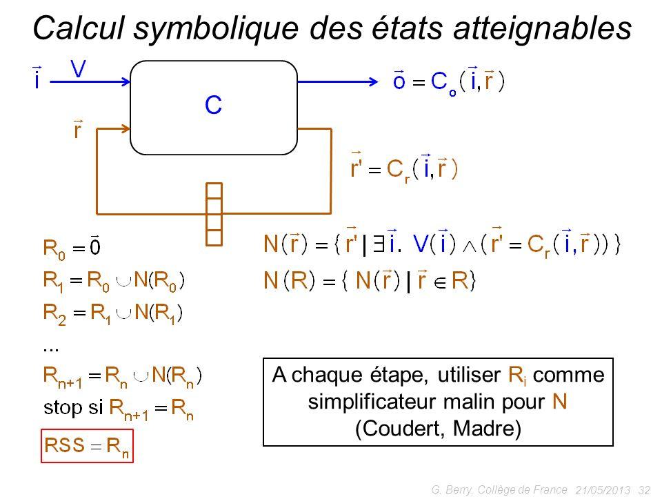 21/05/2013 32 G. Berry, Collège de France Calcul symbolique des états atteignables A chaque étape, utiliser R i comme simplificateur malin pour N (Cou