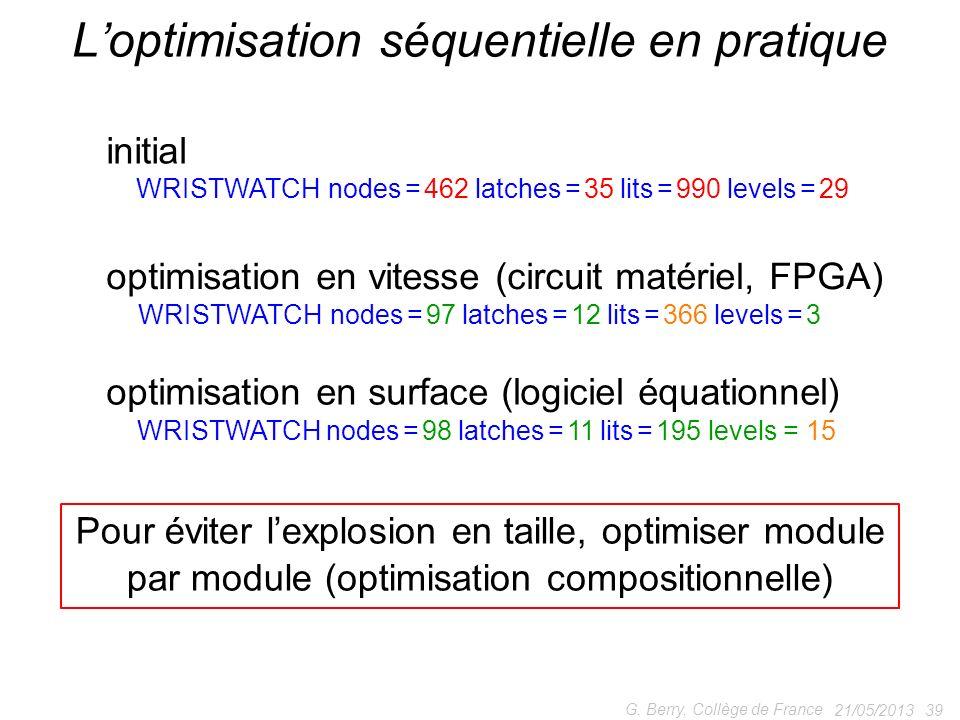 21/05/2013 39 G. Berry, Collège de France Loptimisation séquentielle en pratique WRISTWATCH nodes = 462 latches = 35 lits = 990 levels = 29 initial op