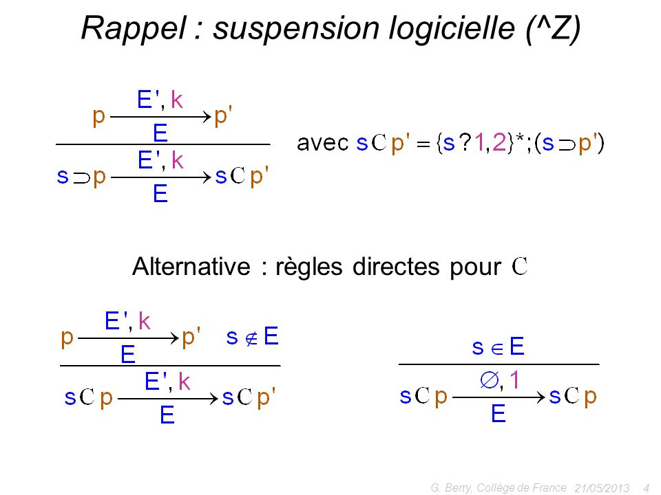 21/05/2013 4 G. Berry, Collège de France Rappel : suspension logicielle (^Z) Alternative : règles directes pour