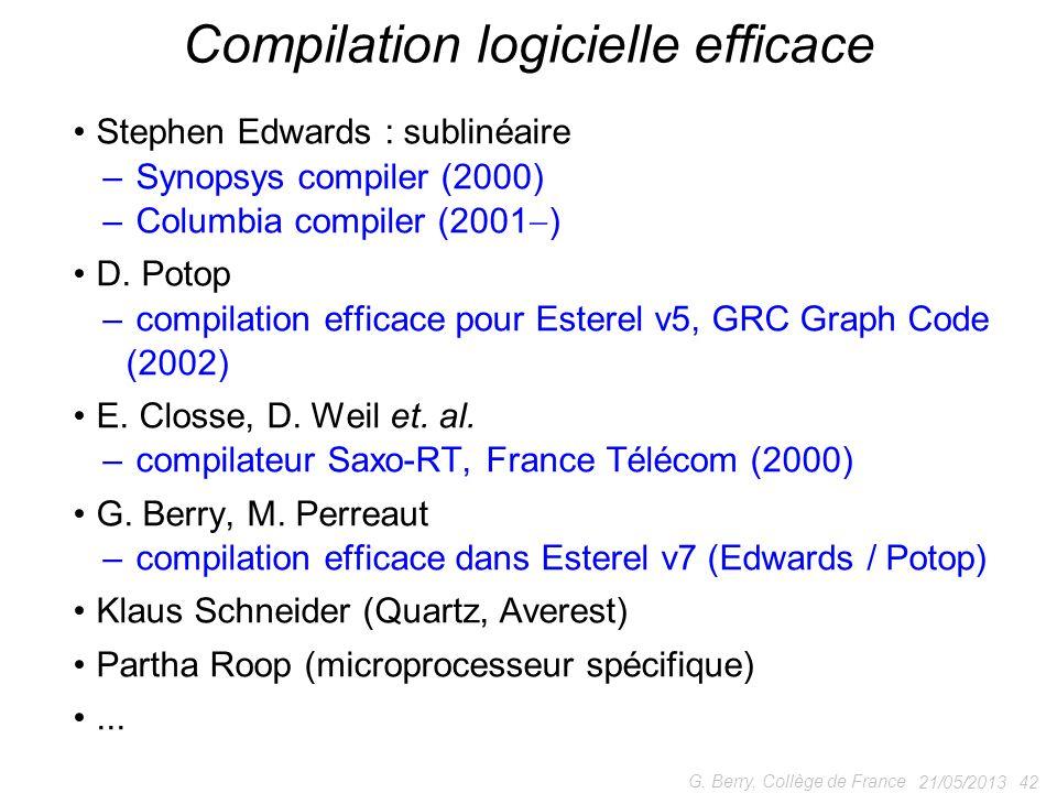 Stephen Edwards : sublinéaire – Synopsys compiler (2000) – Columbia compiler (2001 ) D. Potop – compilation efficace pour Esterel v5, GRC Graph Code (