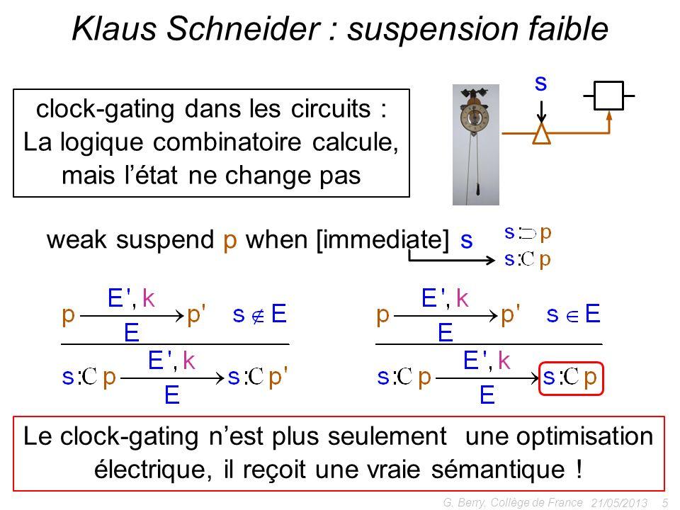21/05/2013 5 G. Berry, Collège de France Klaus Schneider : suspension faible clock-gating dans les circuits : La logique combinatoire calcule, mais lé