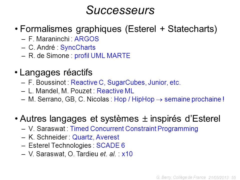 Langages réactifs – F. Boussinot : Reactive C, SugarCubes, Junior, etc. – L. Mandel, M. Pouzet : Reactive ML – M. Serrano, GB, C. Nicolas : Hop / HipH