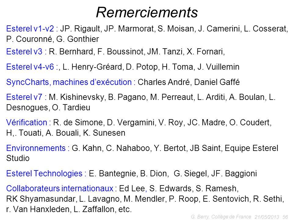 21/05/2013 56 G. Berry, Collège de France Remerciements Esterel v1-v2 : JP. Rigault, JP. Marmorat, S. Moisan, J. Camerini, L. Cosserat, P. Couronné, G