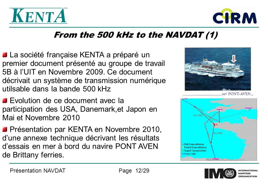 Présentation NAVDATPage 12/29 From the 500 kHz to the NAVDAT (1) La société française KENTA a préparé un premier document présenté au groupe de travail 5B à lUIT en Novembre 2009.