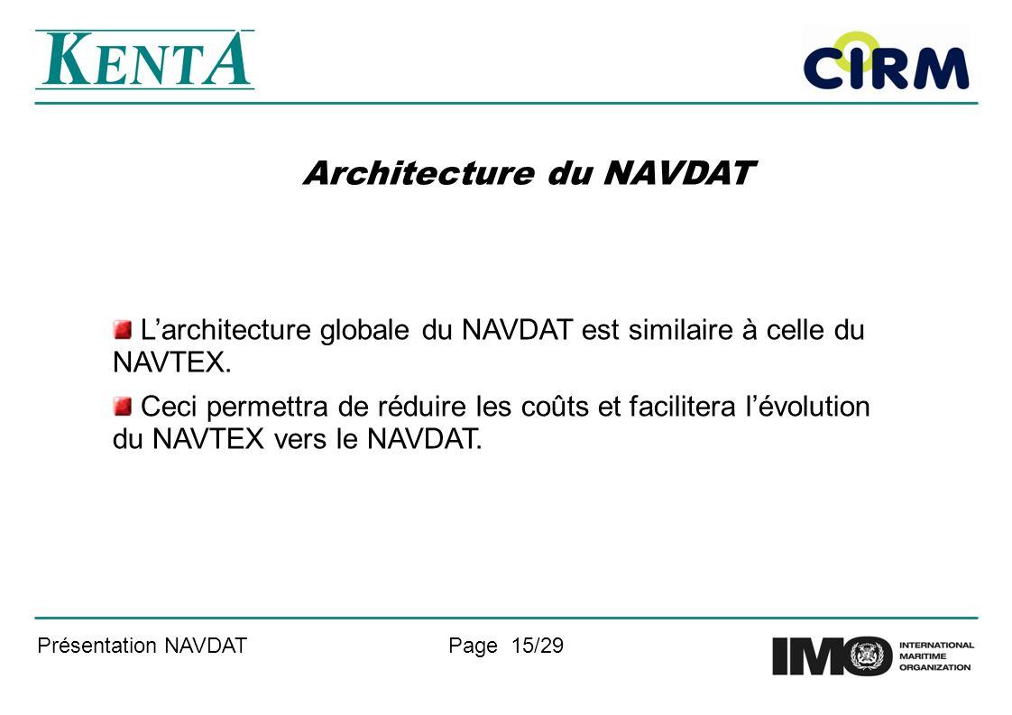 Présentation NAVDATPage 15/29 Architecture du NAVDAT Larchitecture globale du NAVDAT est similaire à celle du NAVTEX. Ceci permettra de réduire les co