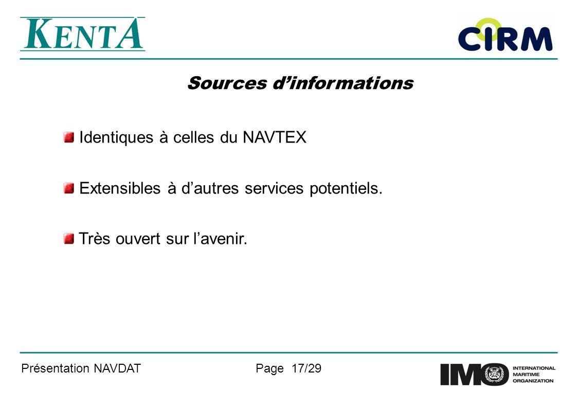 Présentation NAVDATPage 17/29 Sources dinformations Identiques à celles du NAVTEX Extensibles à dautres services potentiels. Très ouvert sur lavenir.