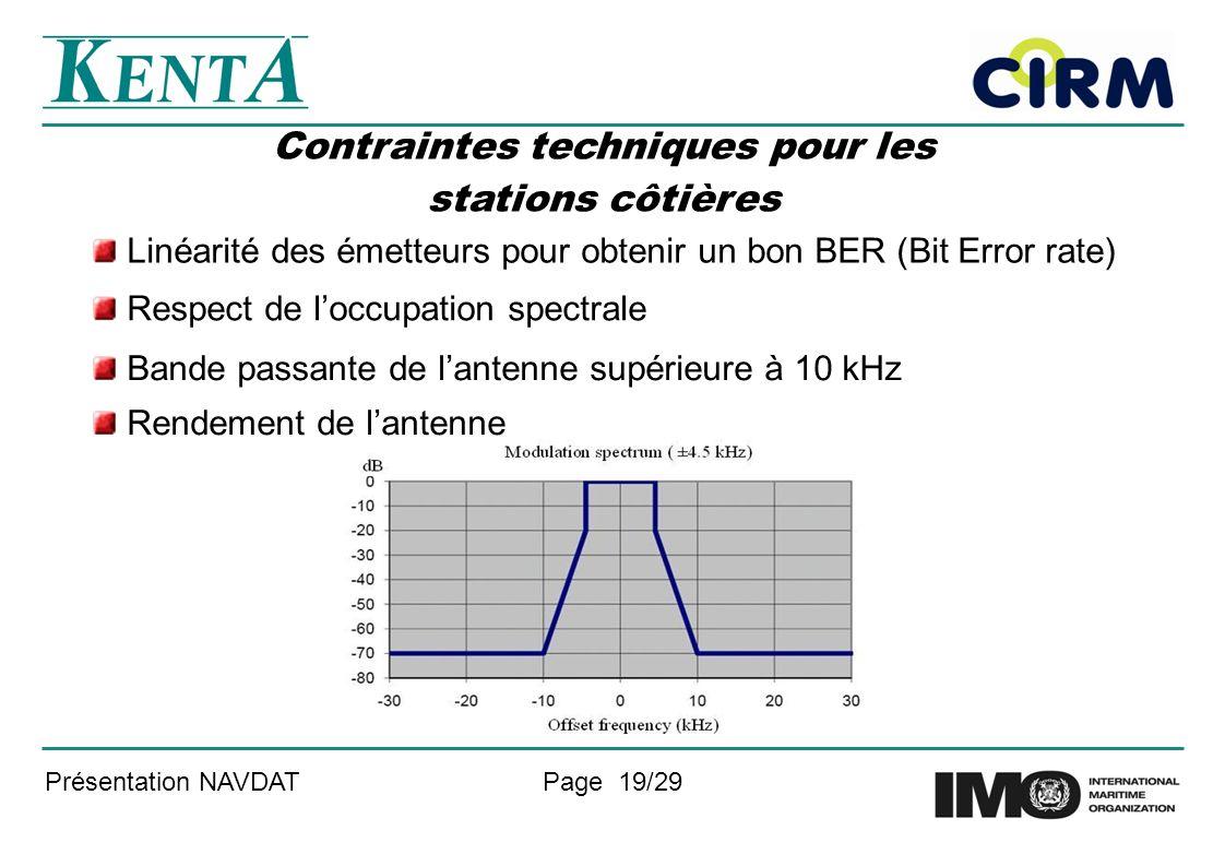 Présentation NAVDATPage 19/29 Contraintes techniques pour les stations côtières Linéarité des émetteurs pour obtenir un bon BER (Bit Error rate) Respect de loccupation spectrale Bande passante de lantenne supérieure à 10 kHz Rendement de lantenne