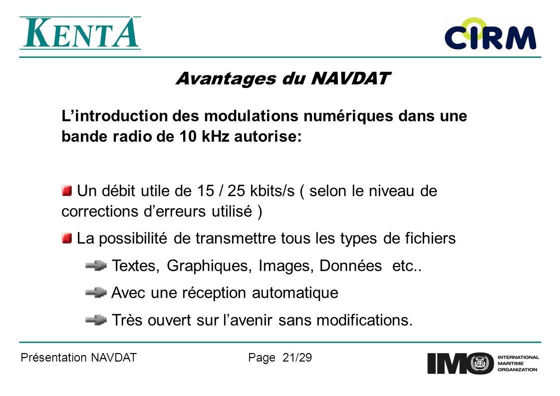 Présentation NAVDATPage 21/29 Avantages du NAVDAT Lintroduction des modulations numériques dans une bande radio de 10 kHz autorise: Un débit utile de