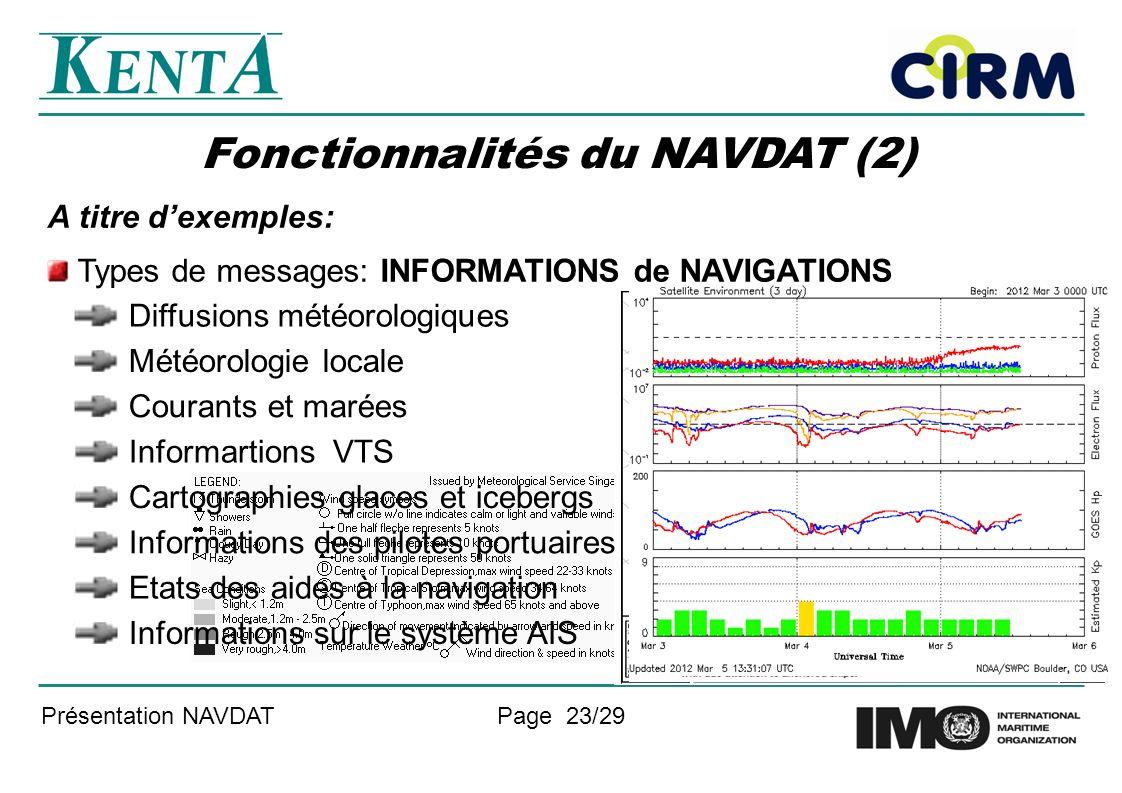 Présentation NAVDATPage 23/29 Fonctionnalités du NAVDAT (2) A titre dexemples: Types de messages: INFORMATIONS de NAVIGATIONS Météorologie locale Courants et marées Diffusions météorologiques Informartions VTS Cartographies glaces et icebergs Informations des pilotes portuaires Etats des aides à la navigation Informations sur le système AIS