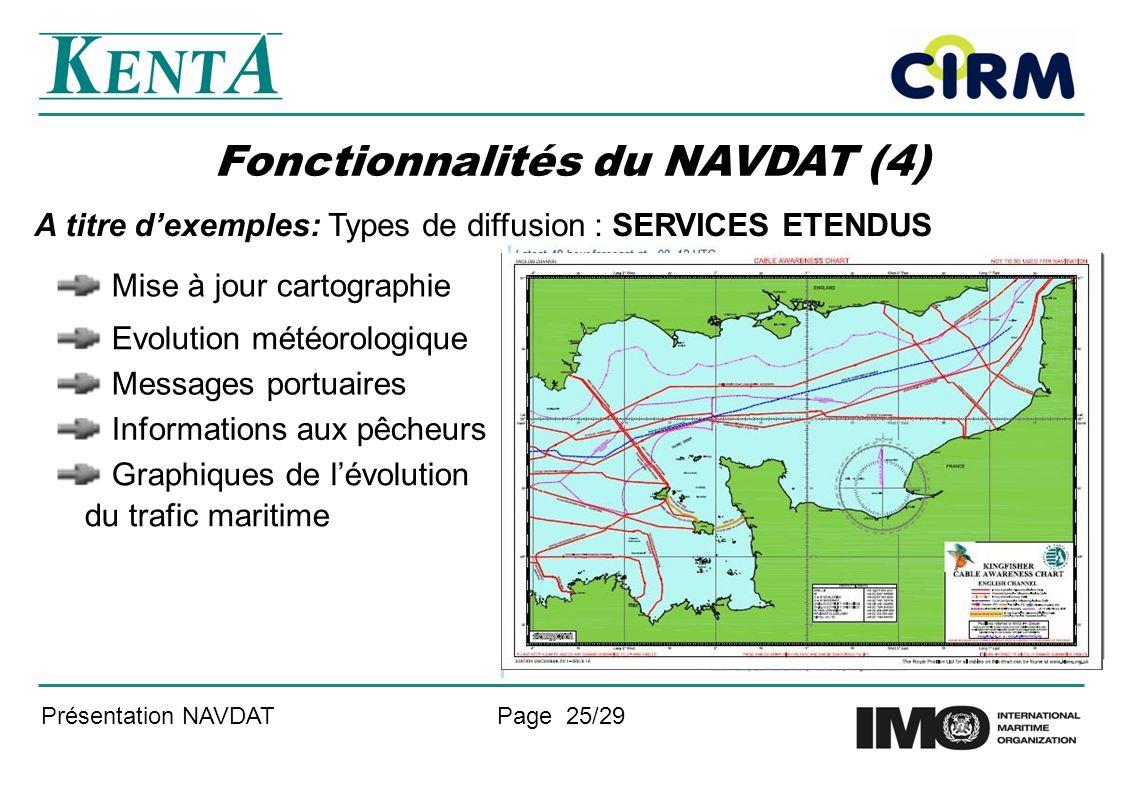 Présentation NAVDATPage 25/29 Fonctionnalités du NAVDAT (4) A titre dexemples: Types de diffusion : SERVICES ETENDUS Mise à jour cartographie Evolutio