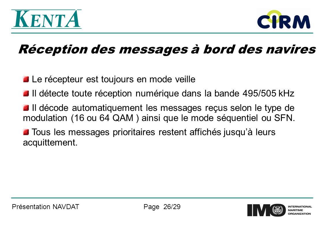 Présentation NAVDATPage 26/29 Réception des messages à bord des navires Le récepteur est toujours en mode veille Il détecte toute réception numérique dans la bande 495/505 kHz Il décode automatiquement les messages reçus selon le type de modulation (16 ou 64 QAM ) ainsi que le mode séquentiel ou SFN.