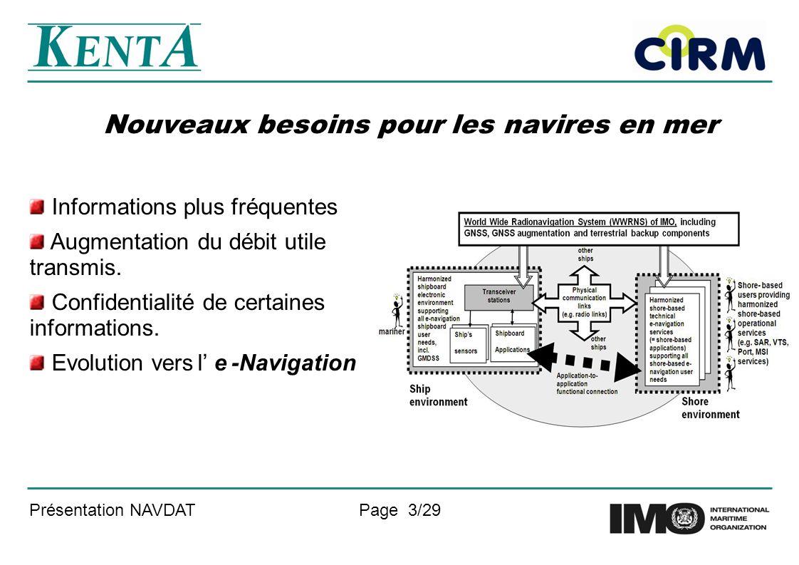Présentation NAVDATPage 3/29 Nouveaux besoins pour les navires en mer Informations plus fréquentes Augmentation du débit utile transmis.