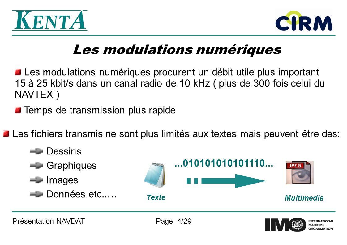 Présentation NAVDATPage 4/29 Les modulations numériques Les modulations numériques procurent un débit utile plus important 15 à 25 kbit/s dans un cana