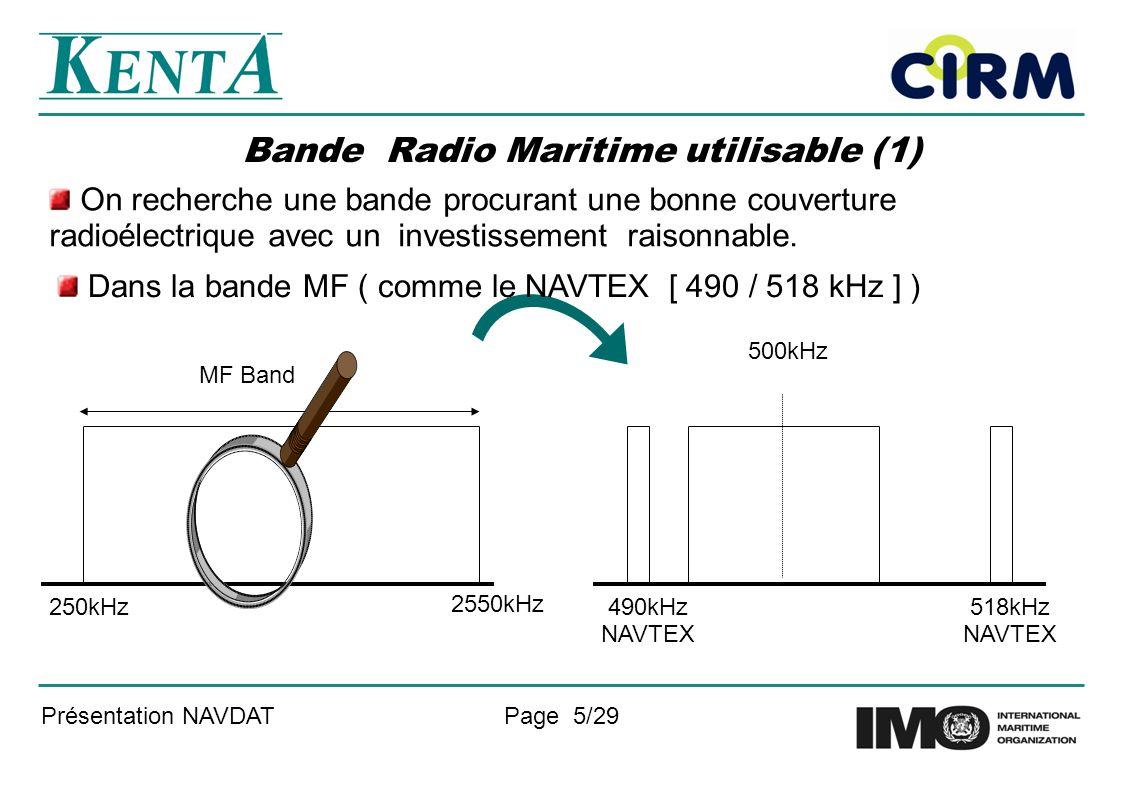 Présentation NAVDATPage 5/29 Bande Radio Maritime utilisable (1) On recherche une bande procurant une bonne couverture radioélectrique avec un investi