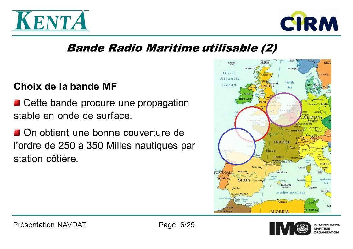 Présentation NAVDATPage 6/29 Bande Radio Maritime utilisable (2) Choix de la bande MF Cette bande procure une propagation stable en onde de surface.