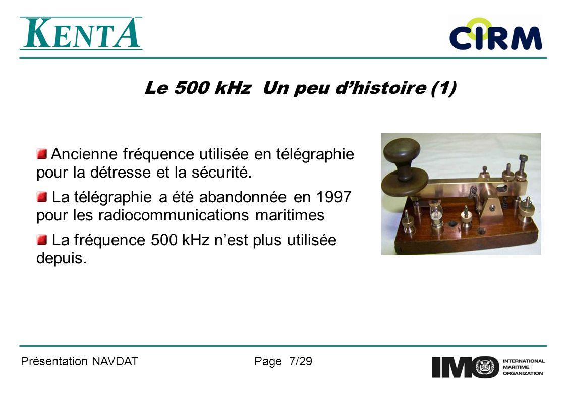 Présentation NAVDATPage 7/29 Le 500 kHz Un peu dhistoire (1) Ancienne fréquence utilisée en télégraphie pour la détresse et la sécurité. La télégraphi