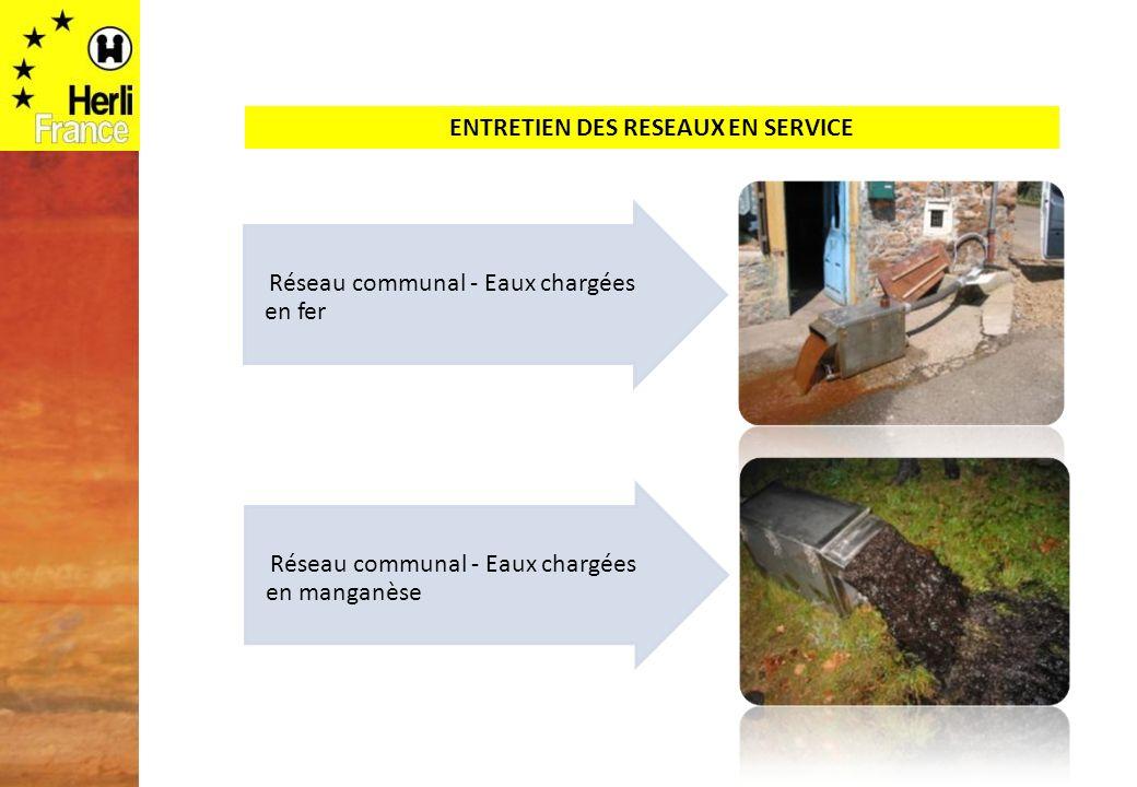 ENTRETIEN DES RESEAUX EN SERVICE Réseau communal - Eaux chargées en fer Réseau communal - Eaux chargées en manganèse