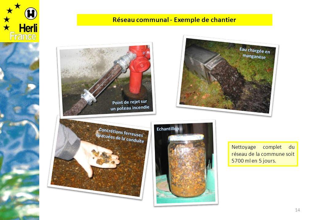 14 Nettoyage complet du réseau de la commune soit 5700 ml en 5 jours. Réseau communal - Exemple de chantier