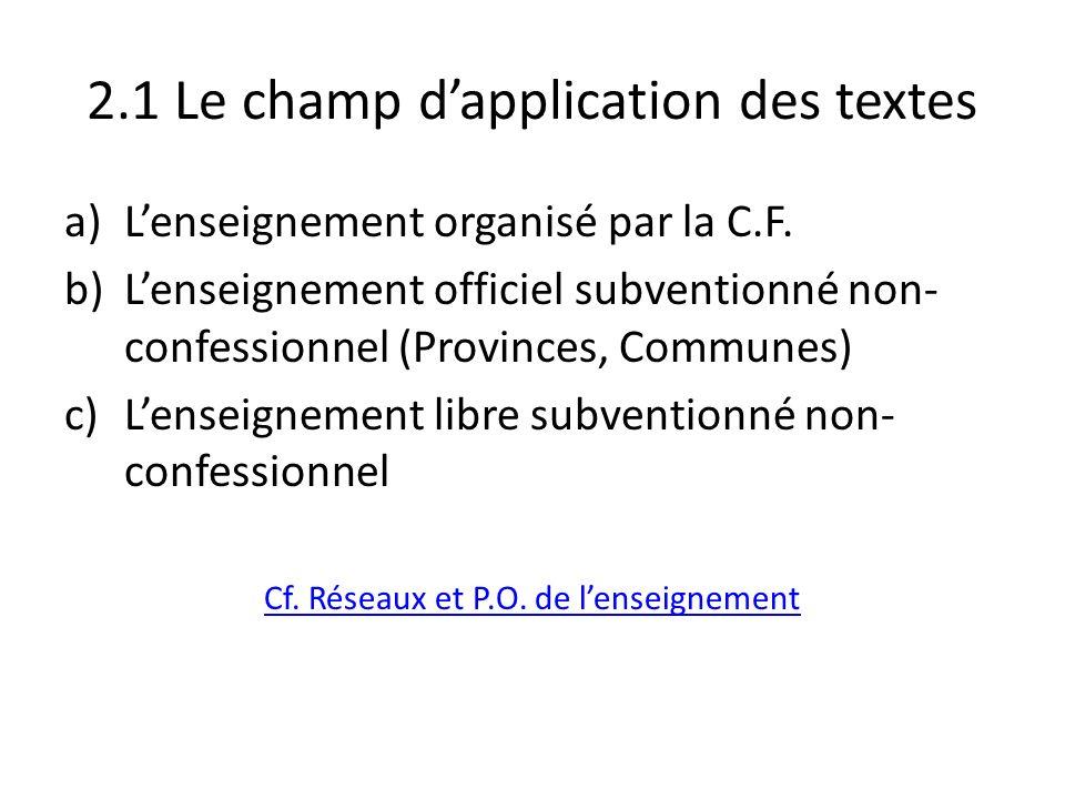 2.1 Le champ dapplication des textes a)Lenseignement organisé par la C.F. b)Lenseignement officiel subventionné non- confessionnel (Provinces, Commune
