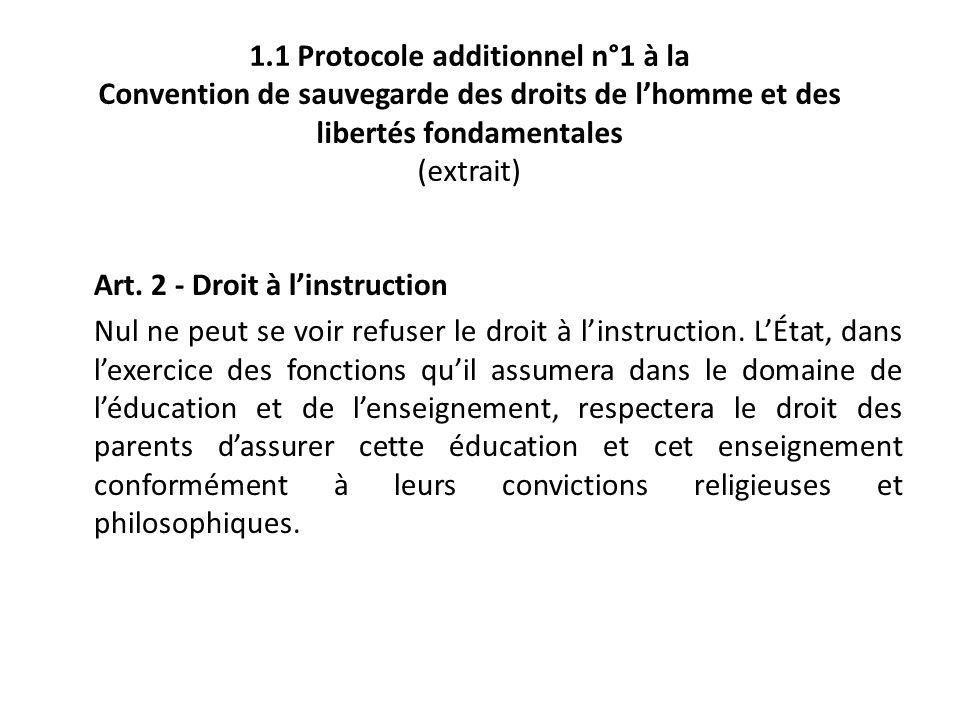 1.1 Protocole additionnel n°1 à la Convention de sauvegarde des droits de lhomme et des libertés fondamentales (extrait) Art. 2 - Droit à linstruction