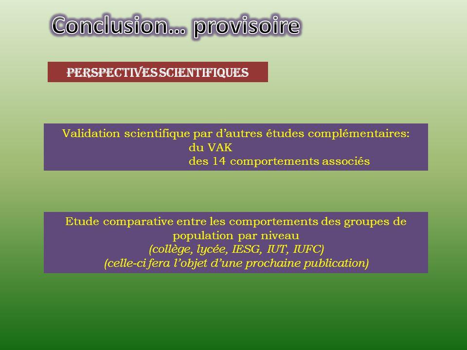 Perspectives scientifiques Validation scientifique par dautres études complémentaires: du VAK des 14 comportements associés Etude comparative entre le
