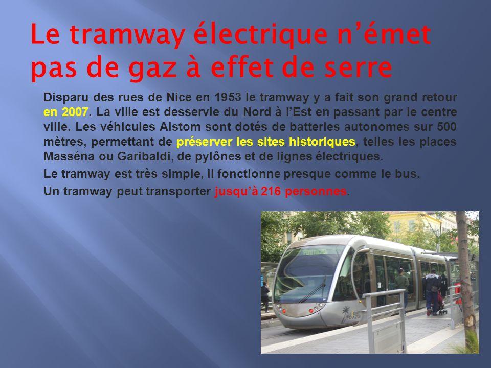 Le tramway électrique német pas de gaz à effet de serre Disparu des rues de Nice en 1953 le tramway y a fait son grand retour en 2007.