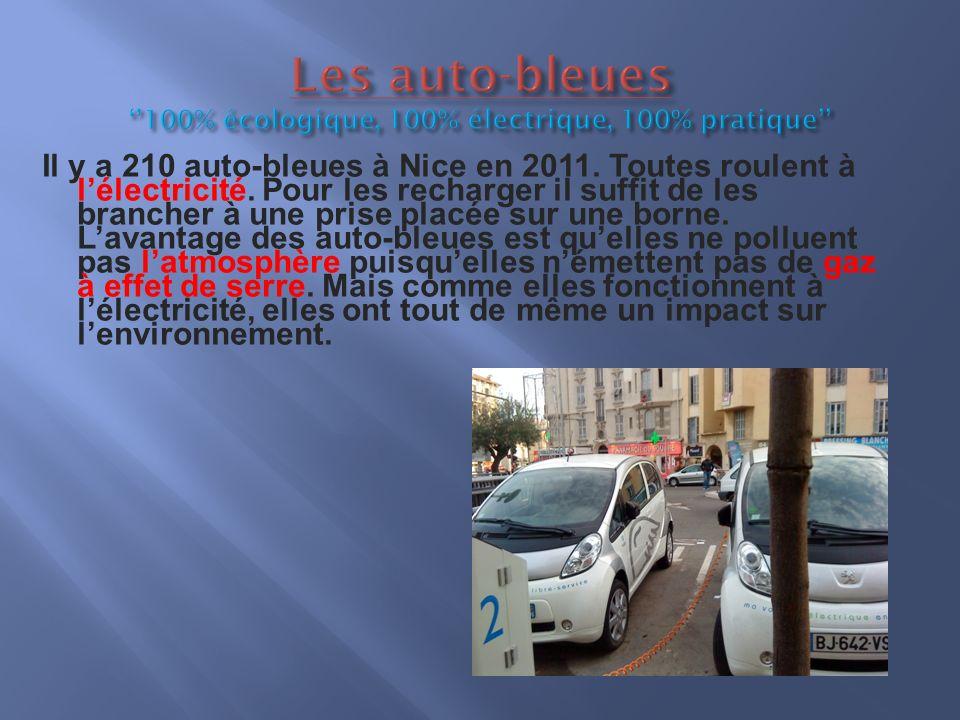 Il y a 210 auto-bleues à Nice en 2011. Toutes roulent à lélectricité.
