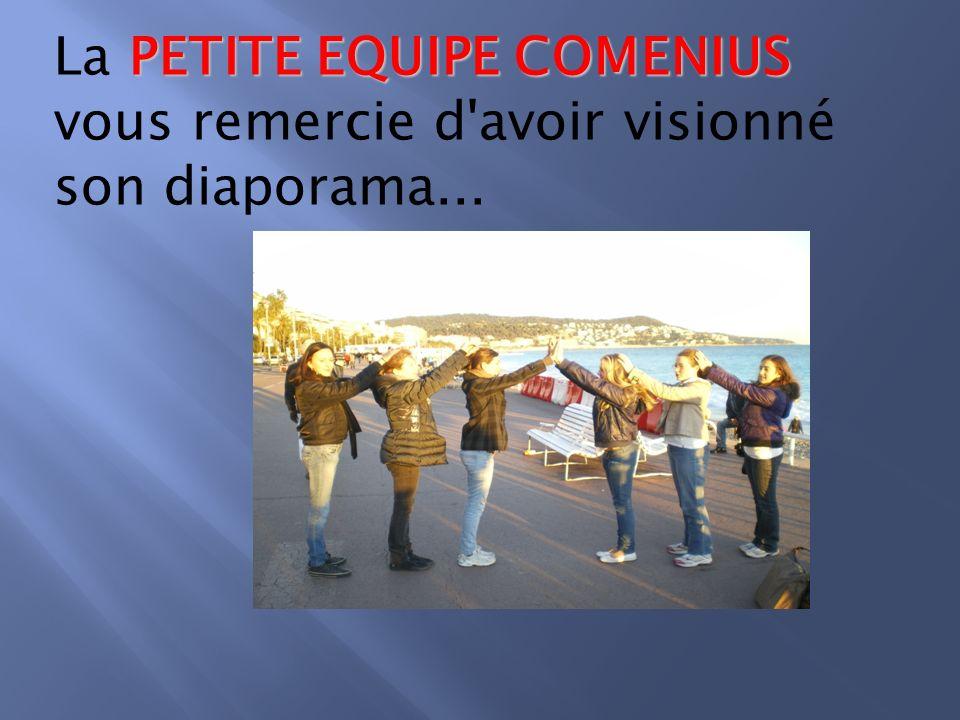 PETITE EQUIPE COMENIUS La PETITE EQUIPE COMENIUS vous remercie d avoir visionné son diaporama...