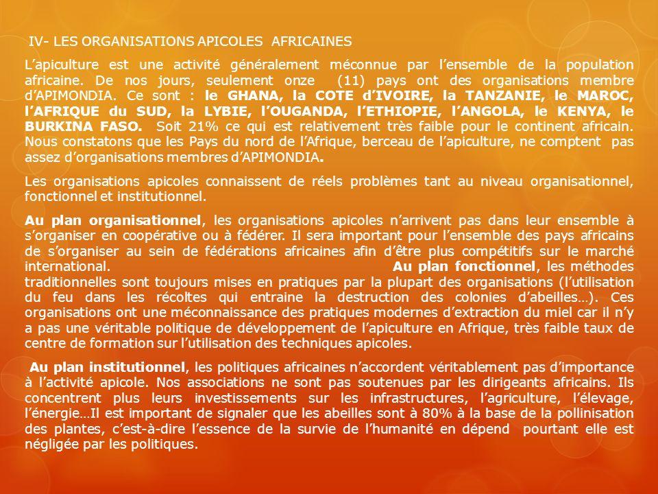 IV- LES ORGANISATIONS APICOLES AFRICAINES Lapiculture est une activité généralement méconnue par lensemble de la population africaine. De nos jours, s