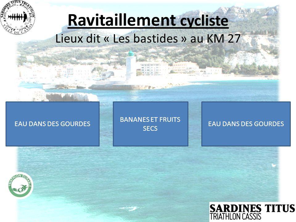 Ravitaillement cycliste Lieux dit « Les bastides » au KM 27 EAU DANS DES GOURDES BANANES ET FRUITS SECS EAU DANS DES GOURDES