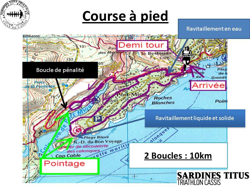 Course à pied 2 Boucles : 10km Ravitaillement liquide et solide Boucle de pénalité Ravitaillement en eau