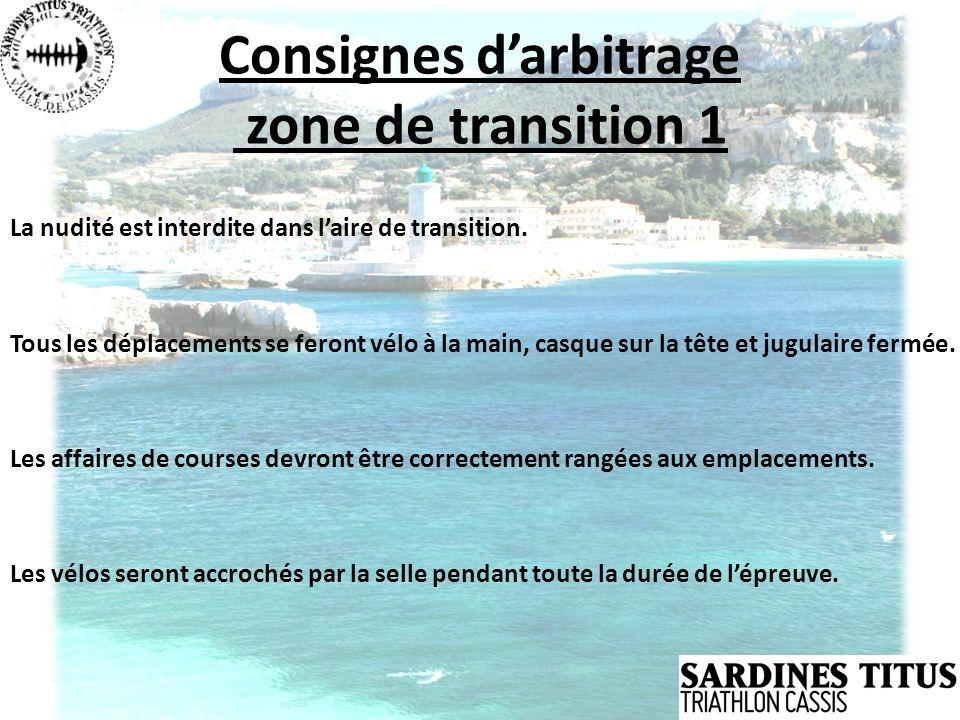 Consignes darbitrage zone de transition 1 La nudité est interdite dans laire de transition. Tous les déplacements se feront vélo à la main, casque sur