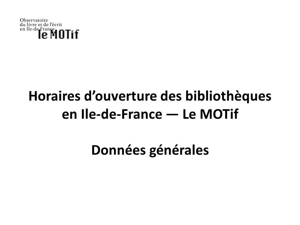 Horaires douverture des bibliothèques en Ile-de-France Le MOTif Données générales