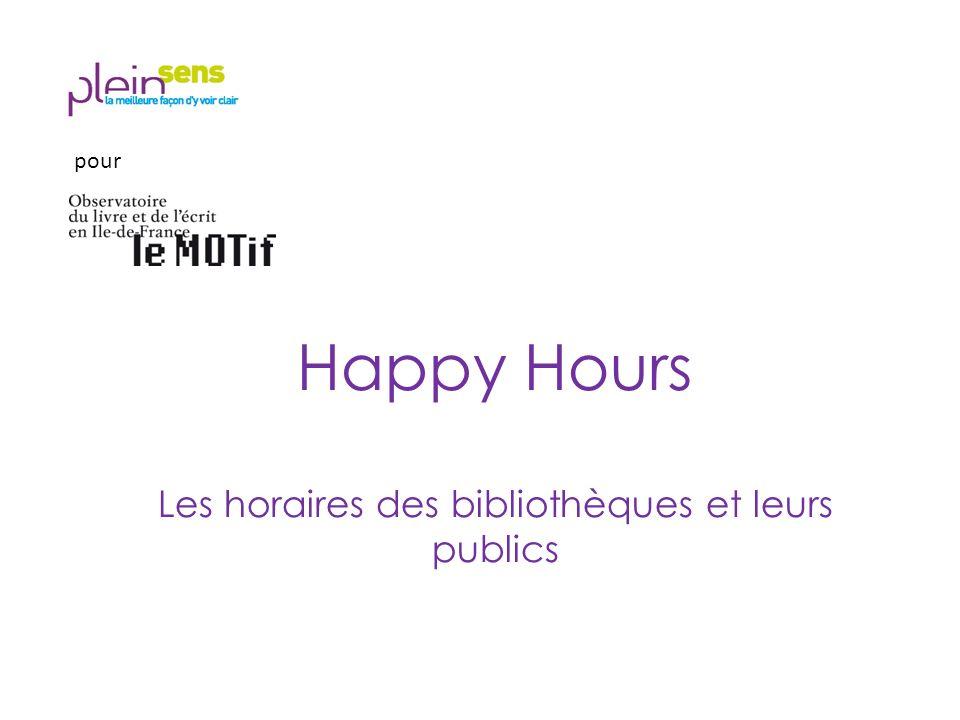 Happy Hours Les horaires des bibliothèques et leurs publics pour
