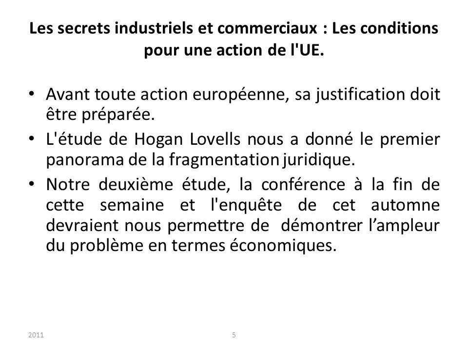 20115 Les secrets industriels et commerciaux : Les conditions pour une action de l UE.