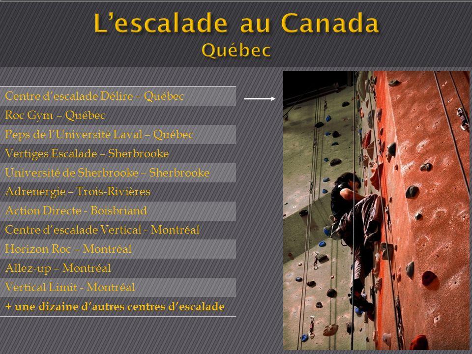 Centre descalade Délire – Québec Roc Gym – Québec Peps de lUniversité Laval – Québec Vertiges Escalade – Sherbrooke Université de Sherbrooke – Sherbro