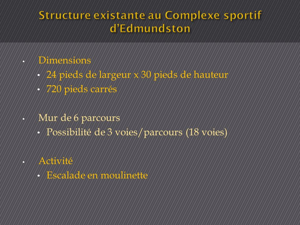 Dimensions 24 pieds de largeur x 30 pieds de hauteur 720 pieds carrés Mur de 6 parcours Possibilité de 3 voies/parcours (18 voies) Activité Escalade e