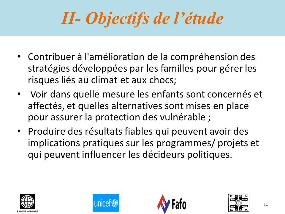II- Objectifs de létude Contribuer à l'amélioration de la compréhension des stratégies développées par les familles pour gérer les risques liés au cli