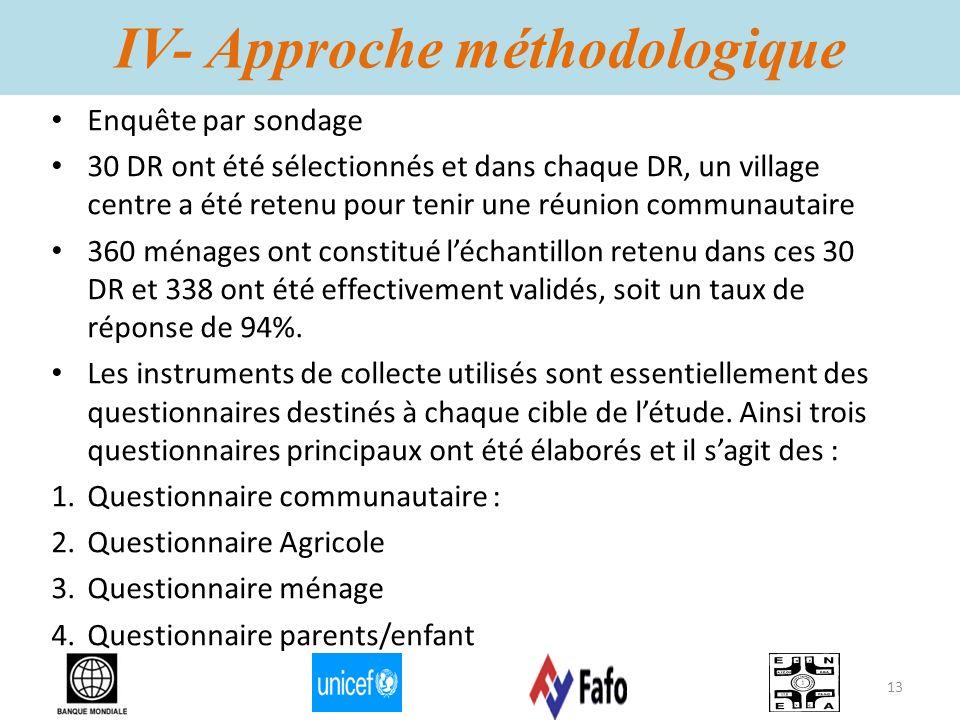 IV- Approche méthodologique Enquête par sondage 30 DR ont été sélectionnés et dans chaque DR, un village centre a été retenu pour tenir une réunion co