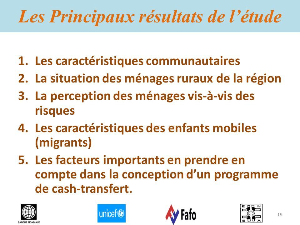 Les Principaux résultats de létude 1.Les caractéristiques communautaires 2.La situation des ménages ruraux de la région 3.La perception des ménages vi