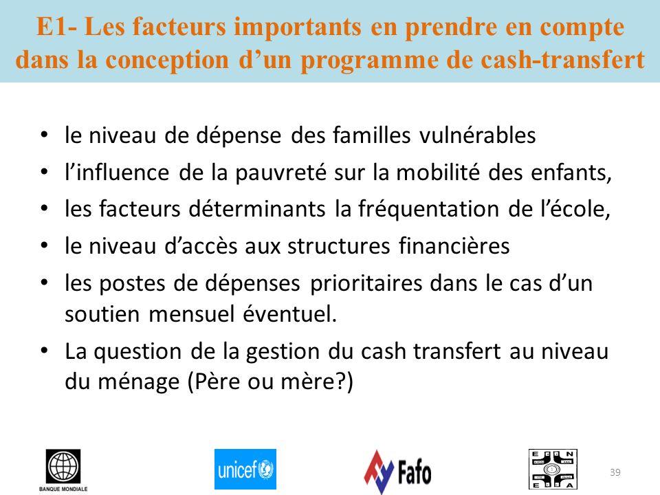 E1- Les facteurs importants en prendre en compte dans la conception dun programme de cash-transfert le niveau de dépense des familles vulnérables linf