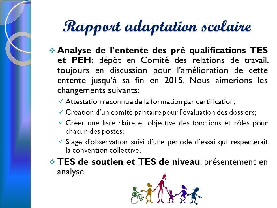 Rapport adaptation scolaire Analyse de lentente des pré qualifications TES et PEH: dépôt en Comité des relations de travail, toujours en discussion pour lamélioration de cette entente jusquà sa fin en 2015.