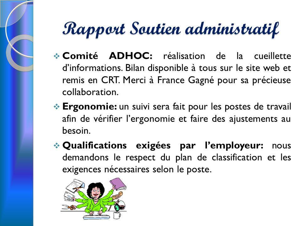 Rapport Soutien administratif Comité ADHOC: réalisation de la cueillette dinformations.