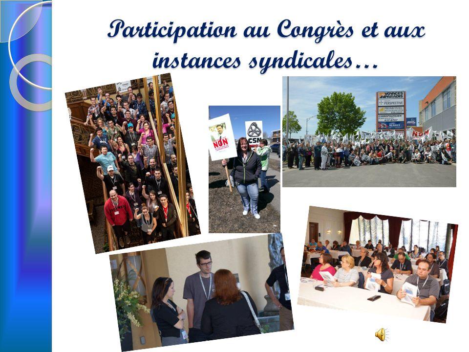 Participation au Congrès et aux instances syndicales…