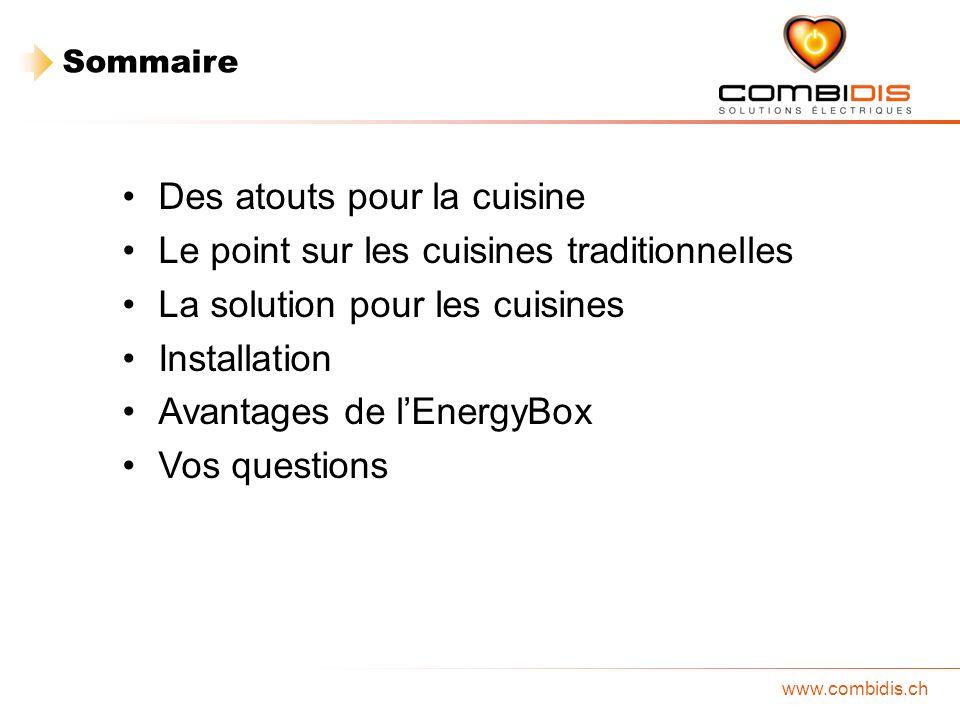 www.combidis.ch Des atouts pour la cuisine Le point sur les cuisines traditionnelles La solution pour les cuisines Installation Avantages de lEnergyBo
