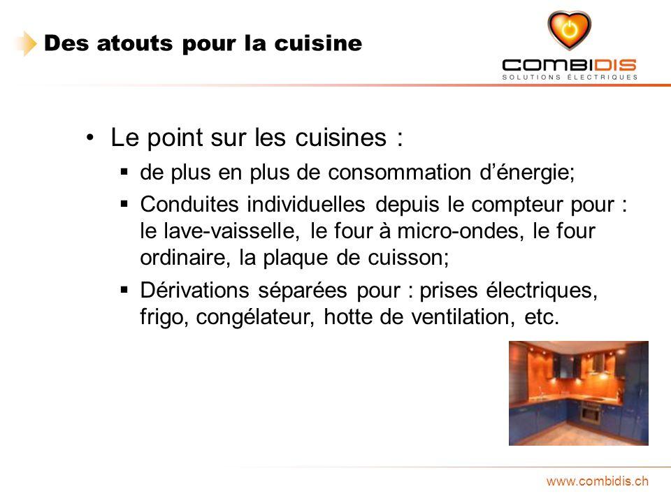 www.combidis.ch Le point sur les cuisines : de plus en plus de consommation dénergie; Conduites individuelles depuis le compteur pour : le lave-vaisse