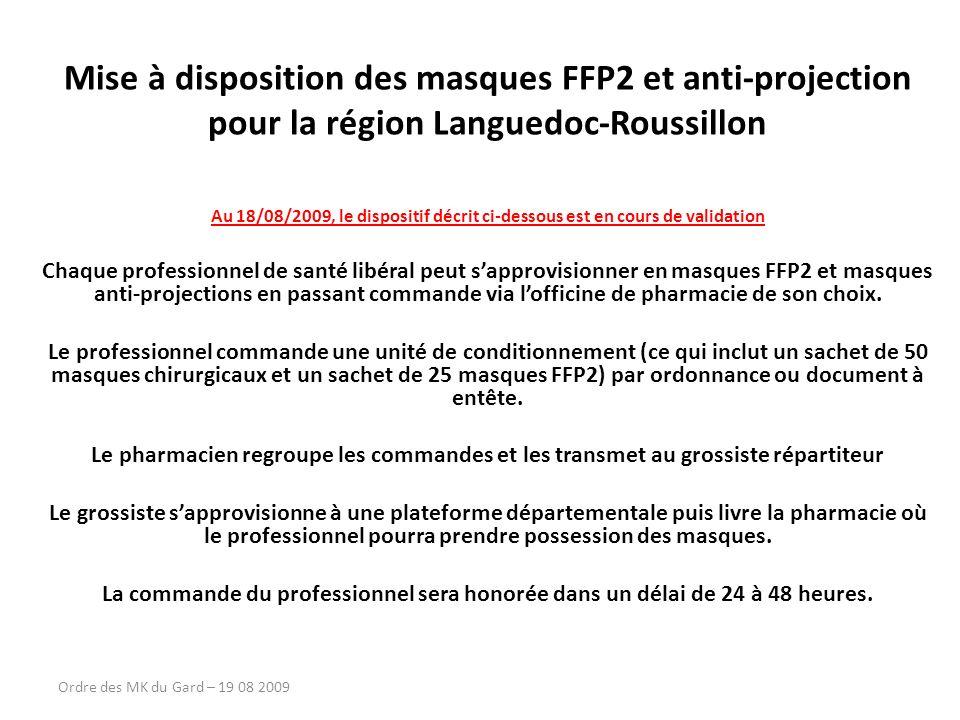 Mise à disposition des masques FFP2 et anti-projection pour la région Languedoc-Roussillon Au 18/08/2009, le dispositif décrit ci-dessous est en cours