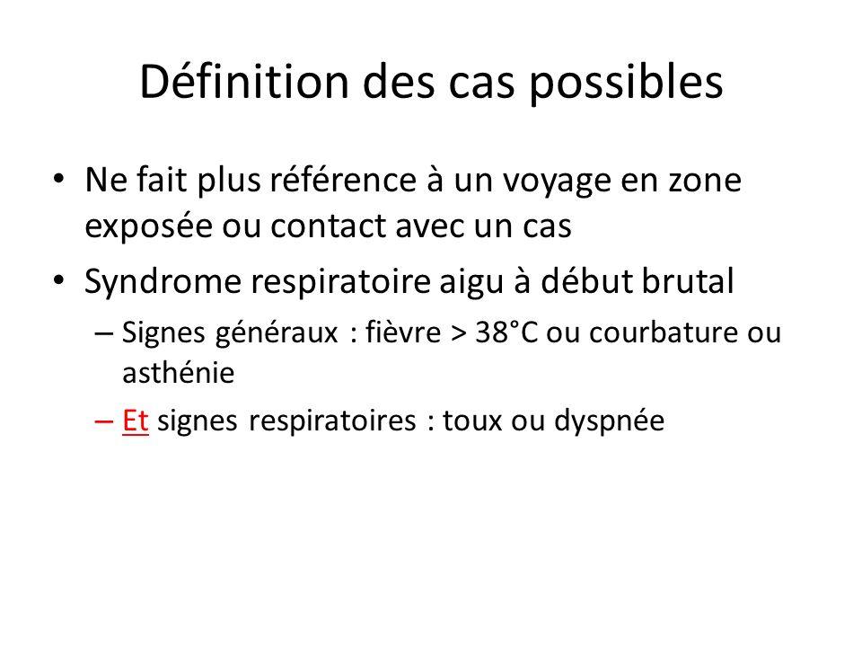 Définition des cas possibles Ne fait plus référence à un voyage en zone exposée ou contact avec un cas Syndrome respiratoire aigu à début brutal – Sig