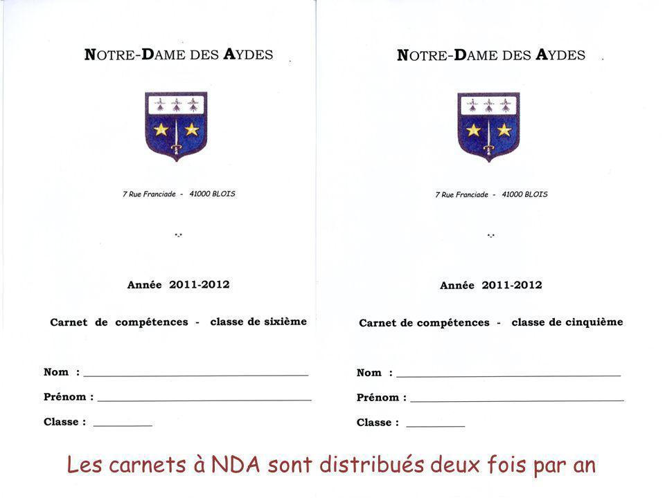 Les carnets à NDA sont distribués deux fois par an